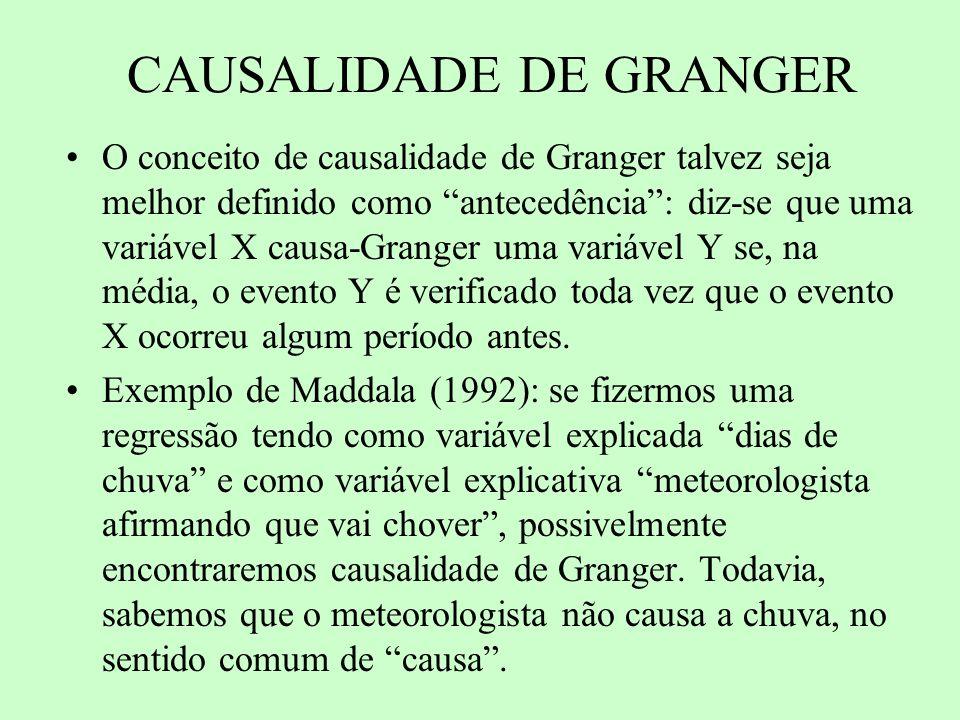 CAUSALIDADE DE GRANGER O conceito de causalidade de Granger talvez seja melhor definido como antecedência: diz-se que uma variável X causa-Granger uma