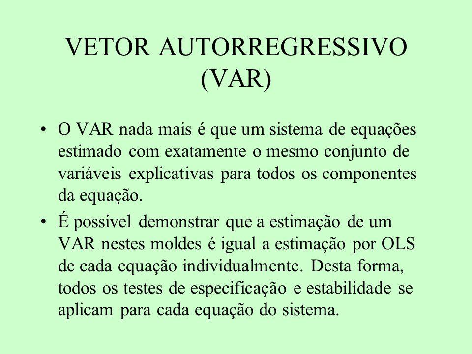 VETOR AUTORREGRESSIVO (VAR) O VAR nada mais é que um sistema de equações estimado com exatamente o mesmo conjunto de variáveis explicativas para todos