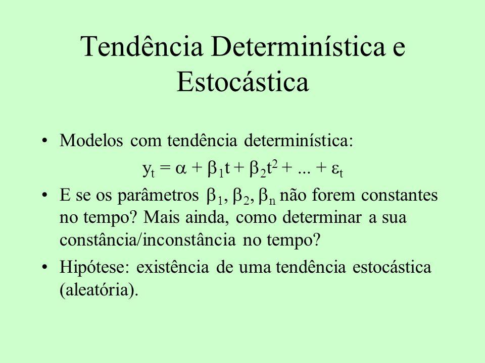 Tendência Determinística e Estocástica Modelos com tendência determinística: y t = + 1 t + 2 t 2 +... + t E se os parâmetros n não forem constantes no