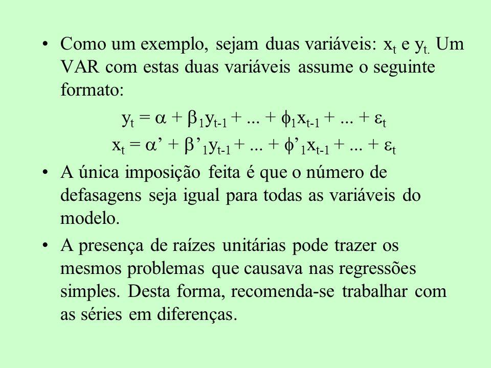 Como um exemplo, sejam duas variáveis: x t e y t. Um VAR com estas duas variáveis assume o seguinte formato: y t = + y t-1 +... + x t-1 +... + t x t =