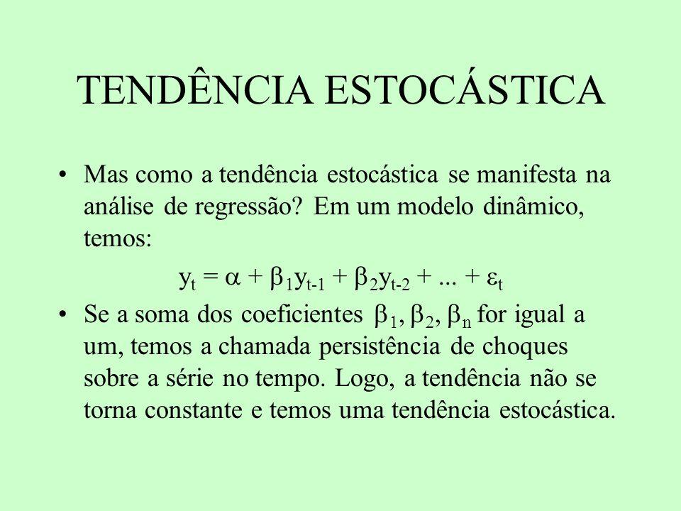 TENDÊNCIA ESTOCÁSTICA Mas como a tendência estocástica se manifesta na análise de regressão? Em um modelo dinâmico, temos: y t = + 1 y t-1 + 2 y t-2 +