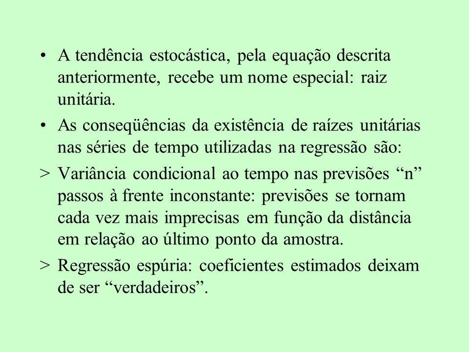 A tendência estocástica, pela equação descrita anteriormente, recebe um nome especial: raiz unitária. As conseqüências da existência de raízes unitári