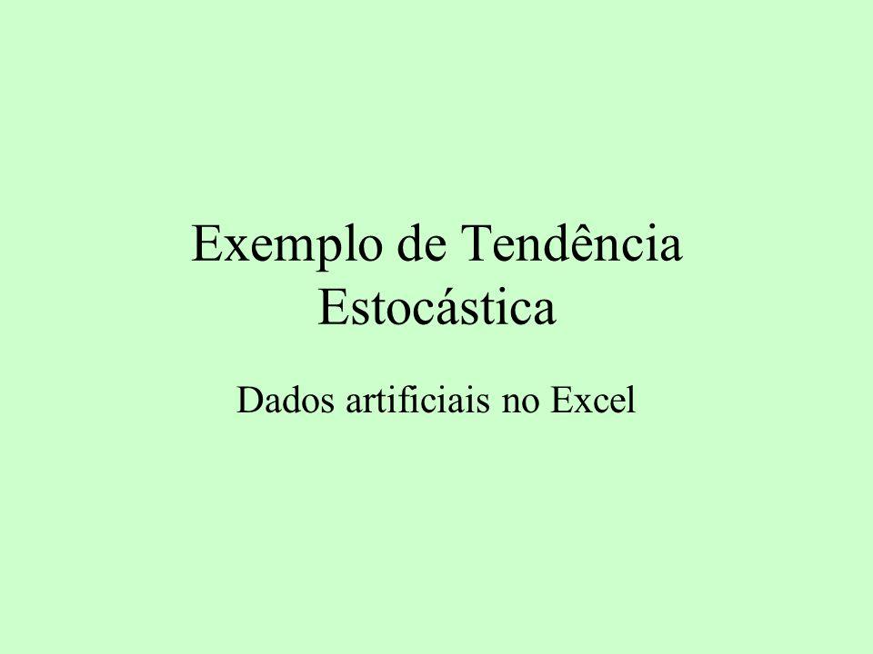 Exemplo de Tendência Estocástica Dados artificiais no Excel