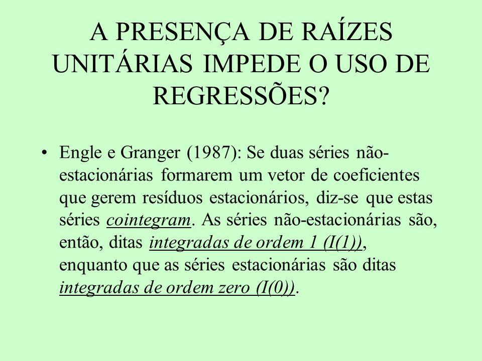 A PRESENÇA DE RAÍZES UNITÁRIAS IMPEDE O USO DE REGRESSÕES? Engle e Granger (1987): Se duas séries não- estacionárias formarem um vetor de coeficientes
