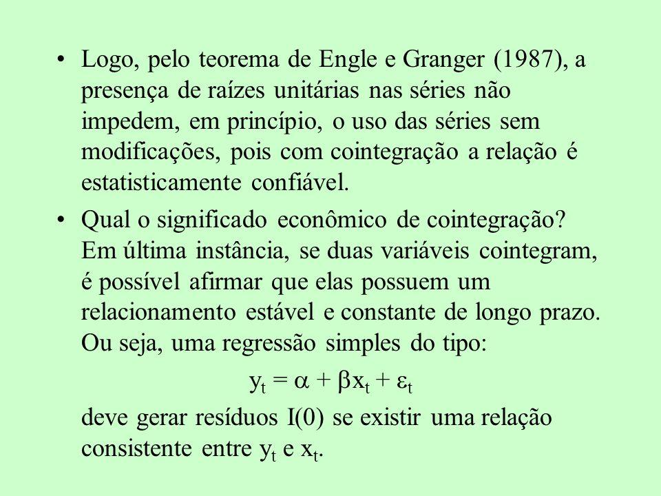 TESTE DE COINTEGRAÇÃO Método de Engle e Granger: estimar a regressão de longo prazo (y t = + x t + t ) e verificar a presença de raízes unitárias na série de resíduos e t ) Cuidado!!.