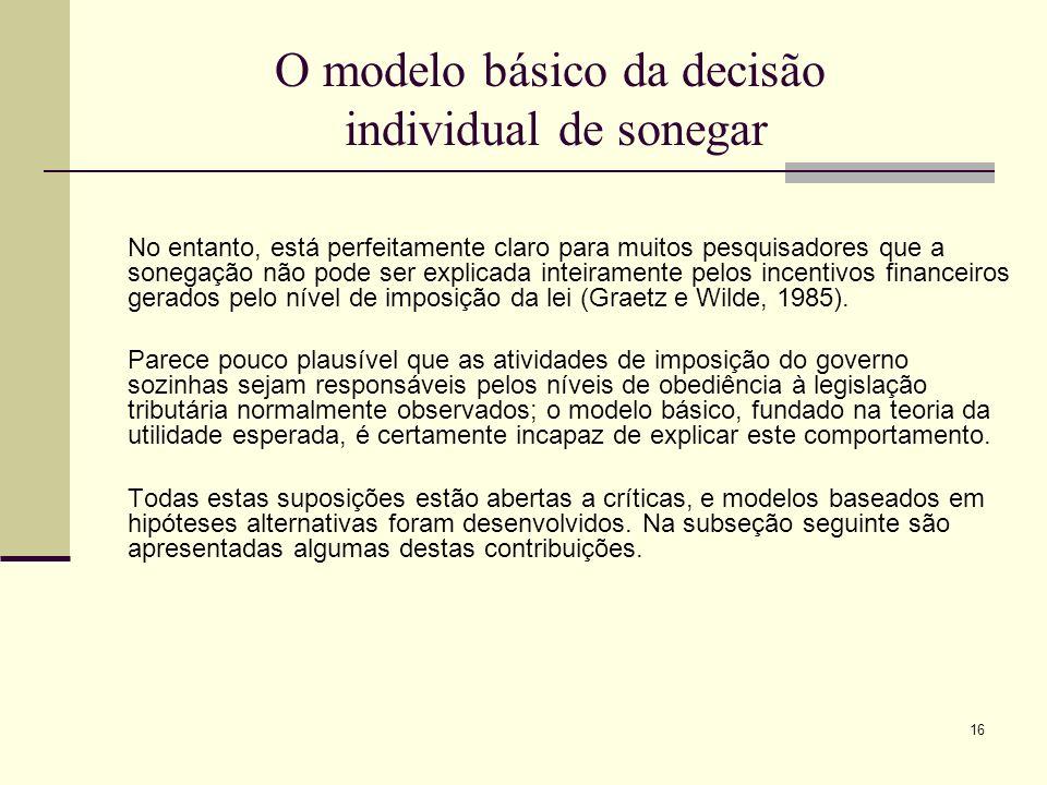 16 O modelo básico da decisão individual de sonegar No entanto, está perfeitamente claro para muitos pesquisadores que a sonegação não pode ser explic