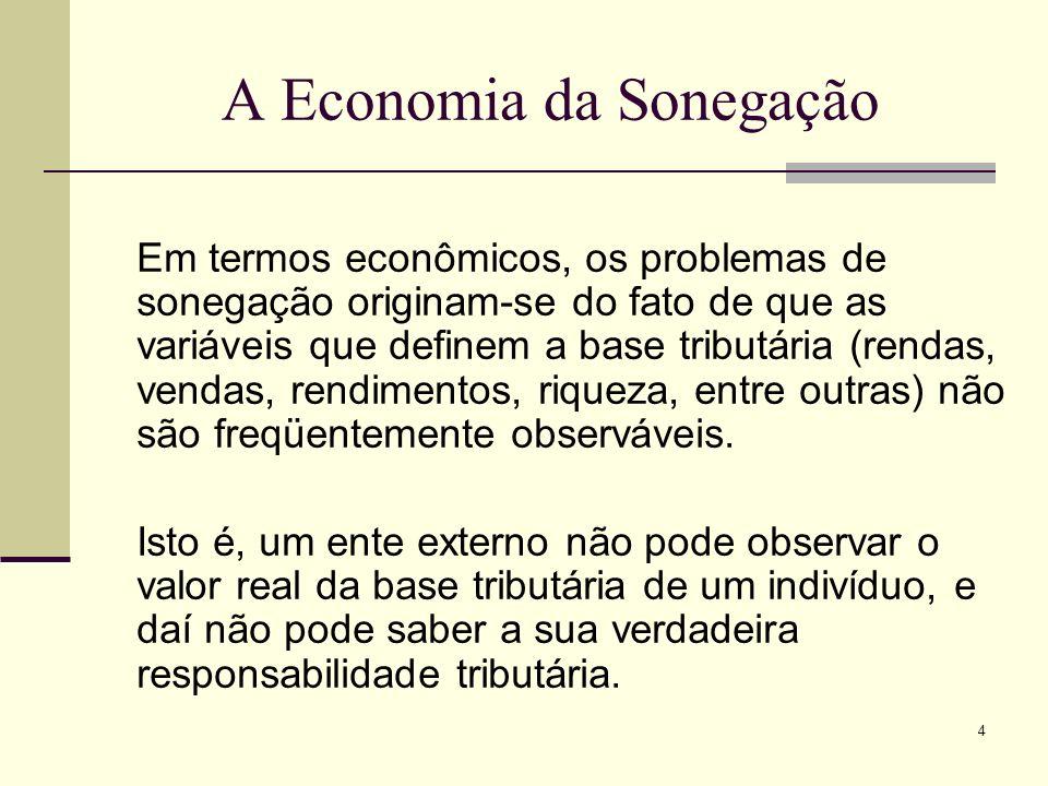 4 A Economia da Sonegação Em termos econômicos, os problemas de sonegação originam-se do fato de que as variáveis que definem a base tributária (renda