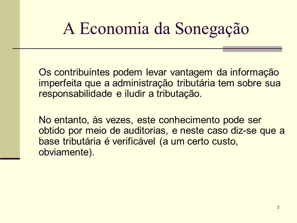 5 A Economia da Sonegação Os contribuintes podem levar vantagem da informação imperfeita que a administração tributária tem sobre sua responsabilidade