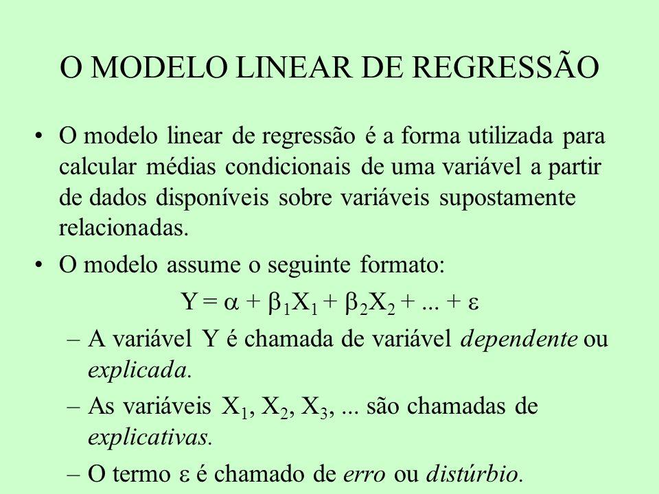 HIPÓTESES BÁSICAS: Relacionamento linear entre as variáveis E( ) = 0 E( 2 ) = 2 (constante) Os resíduos são independentes entre si: E( i j ) = 0, i,j = 1, 2, 3...