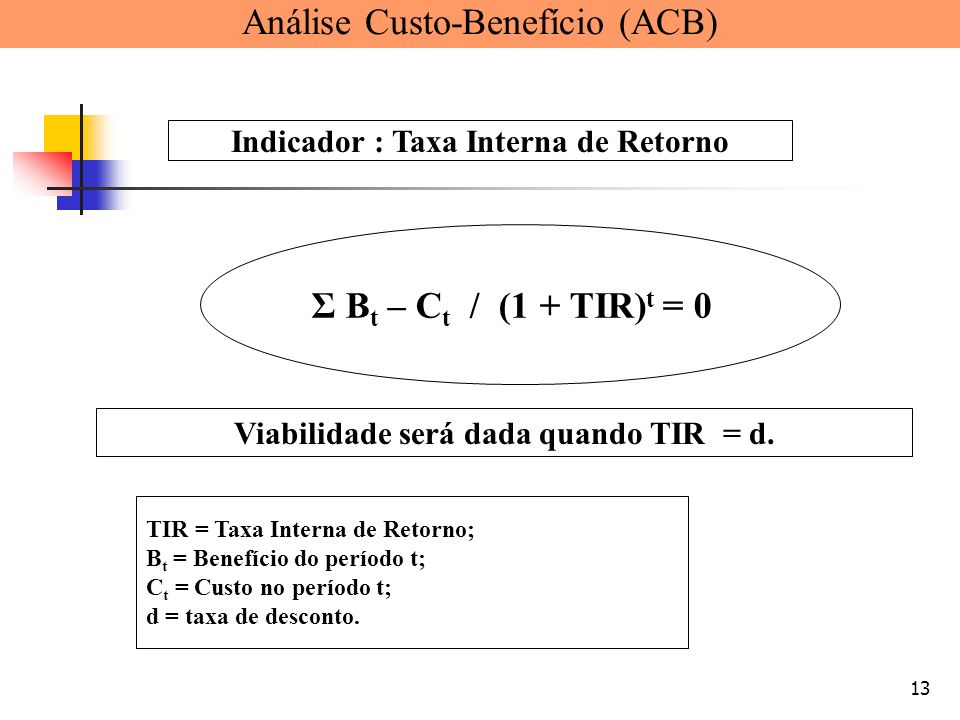 13 TIR = Taxa Interna de Retorno; B t = Benefício do período t; C t = Custo no período t; d = taxa de desconto. Σ B t – C t / (1 + TIR) t = 0 Indicado