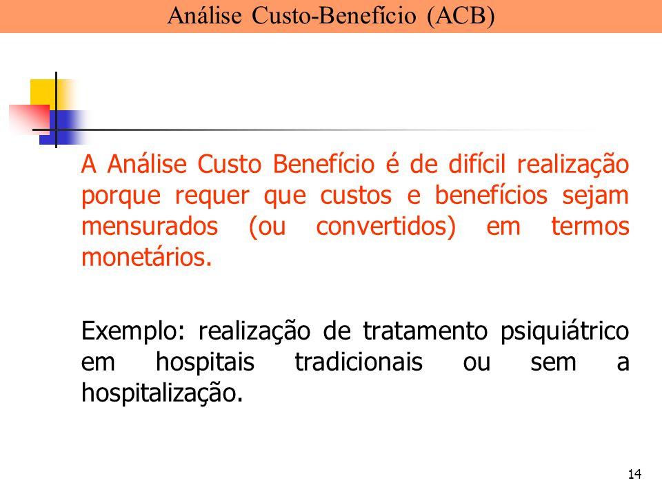 14 A Análise Custo Benefício é de difícil realização porque requer que custos e benefícios sejam mensurados (ou convertidos) em termos monetários. Exe