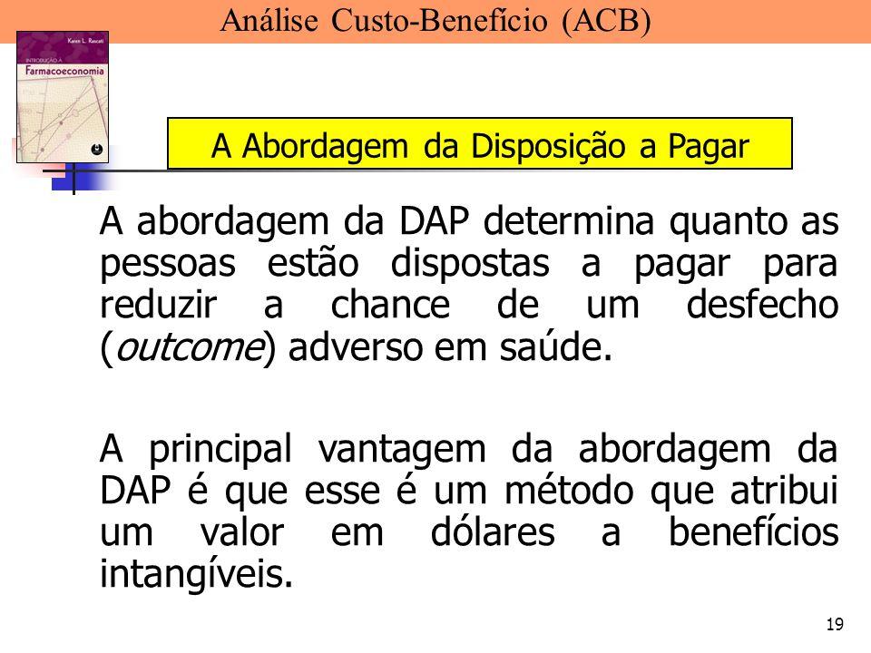19 A abordagem da DAP determina quanto as pessoas estão dispostas a pagar para reduzir a chance de um desfecho (outcome) adverso em saúde. A principal