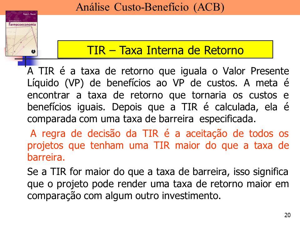 20 A TIR é a taxa de retorno que iguala o Valor Presente Líquido (VP) de benefícios ao VP de custos. A meta é encontrar a taxa de retorno que tornaria