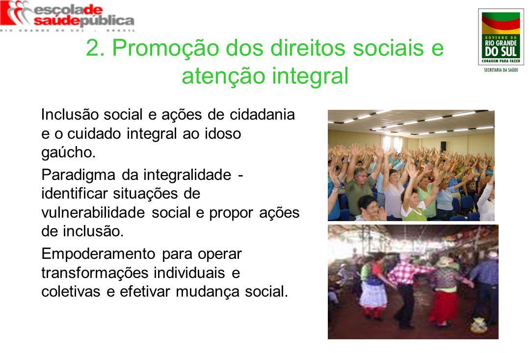 2. Promoção dos direitos sociais e atenção integral Inclusão social e ações de cidadania e o cuidado integral ao idoso gaúcho. Paradigma da integralid