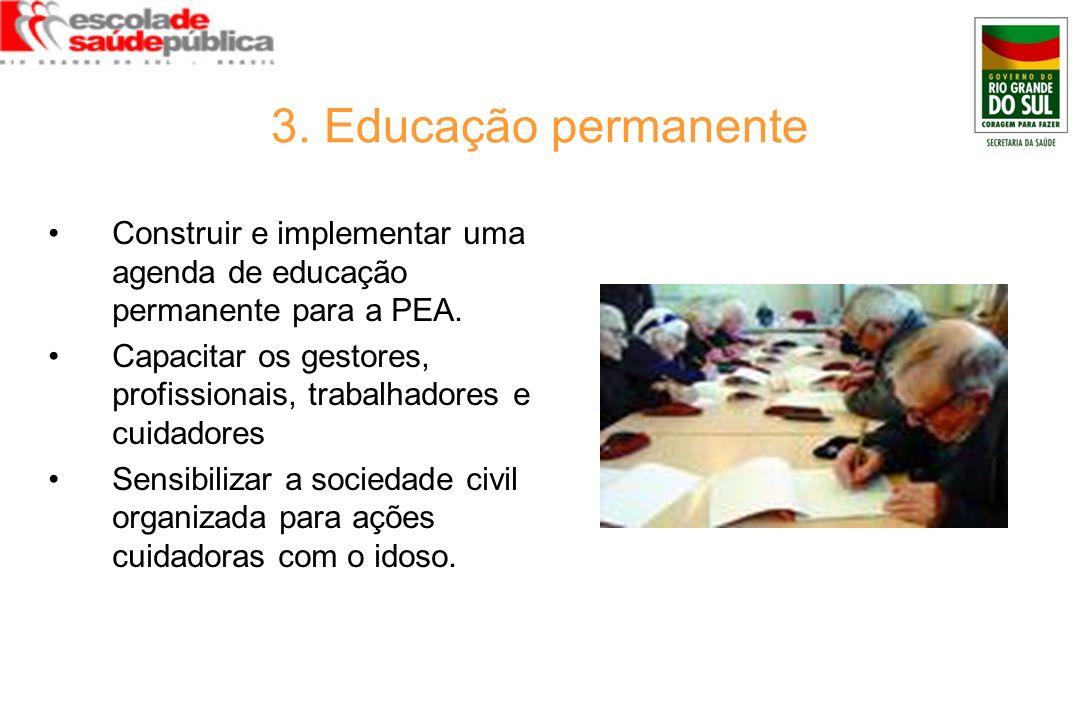 3. Educação permanente Construir e implementar uma agenda de educação permanente para a PEA. Capacitar os gestores, profissionais, trabalhadores e cui