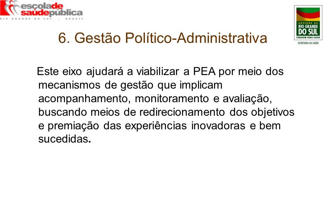 6. Gestão Político-Administrativa Este eixo ajudará a viabilizar a PEA por meio dos mecanismos de gestão que implicam acompanhamento, monitoramento e