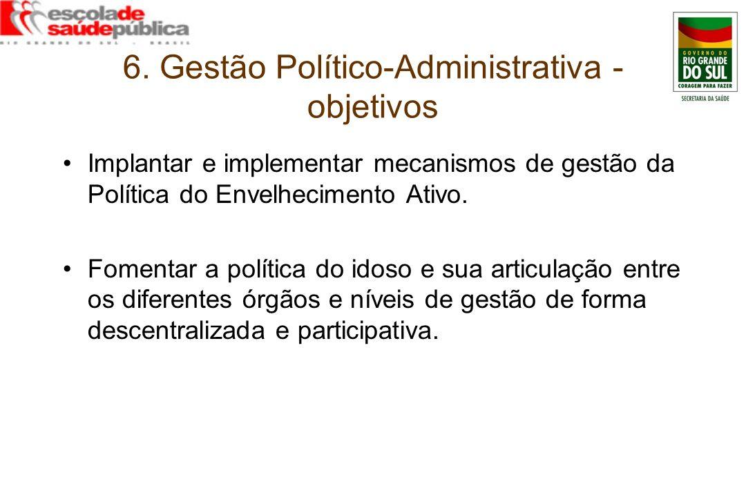 6. Gestão Político-Administrativa - objetivos Implantar e implementar mecanismos de gestão da Política do Envelhecimento Ativo. Fomentar a política do