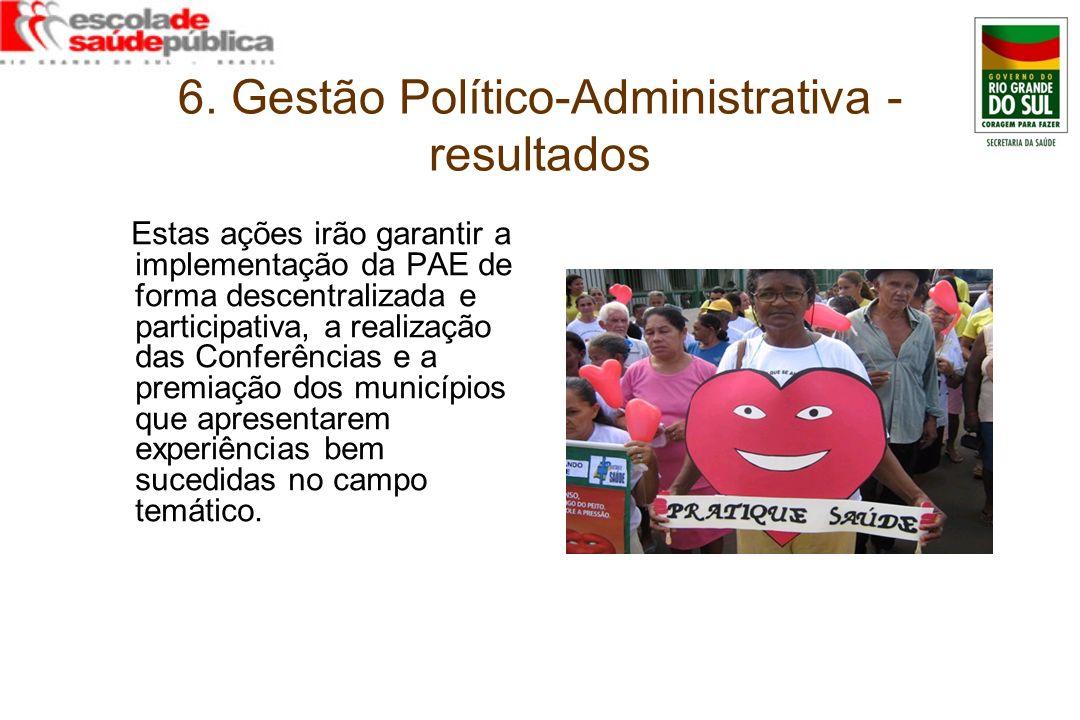 6. Gestão Político-Administrativa - resultados Estas ações irão garantir a implementação da PAE de forma descentralizada e participativa, a realização
