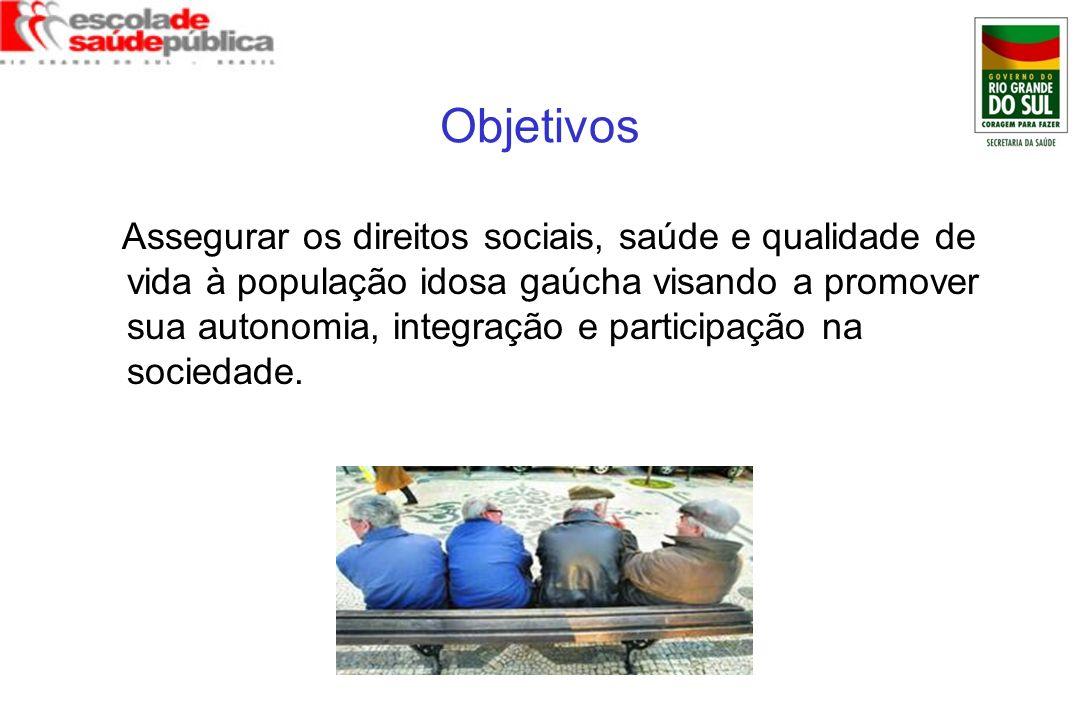 Objetivos Assegurar os direitos sociais, saúde e qualidade de vida à população idosa gaúcha visando a promover sua autonomia, integração e participaçã