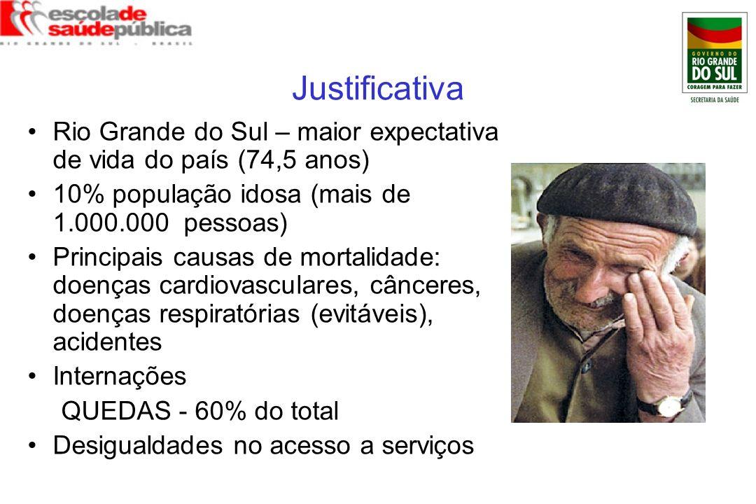 Justificativa Rio Grande do Sul – maior expectativa de vida do país (74,5 anos) 10% população idosa (mais de 1.000.000 pessoas) Principais causas de m