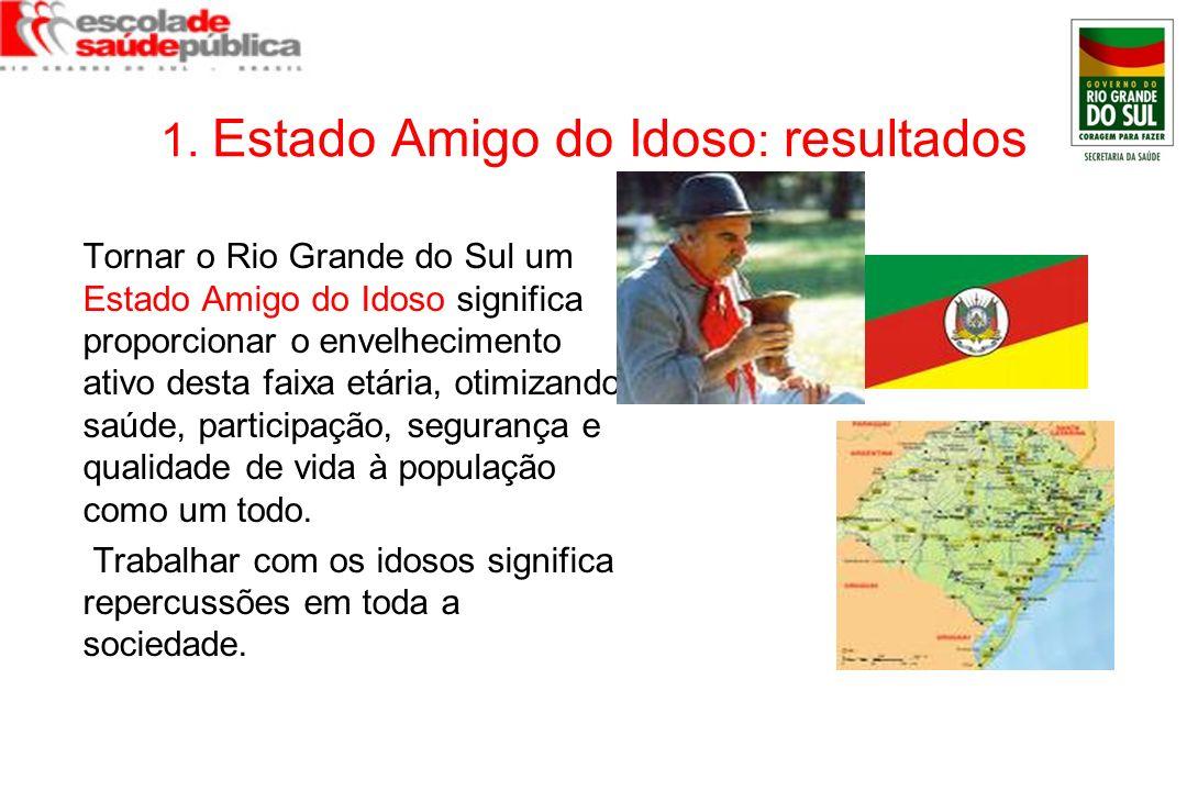 1. Estado Amigo do Idoso : resultados Tornar o Rio Grande do Sul um Estado Amigo do Idoso significa proporcionar o envelhecimento ativo desta faixa et