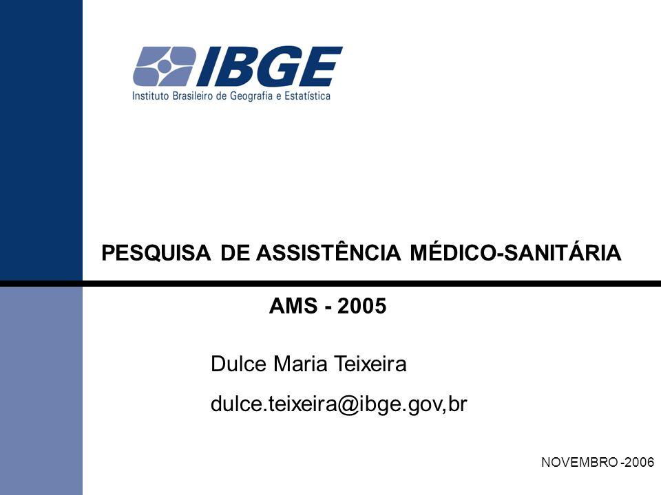 PESQUISA DE ASSISTÊNCIA MÉDICO-SANITÁRIA AMS - 2005 NOVEMBRO -2006 Dulce Maria Teixeira dulce.teixeira@ibge.gov,br