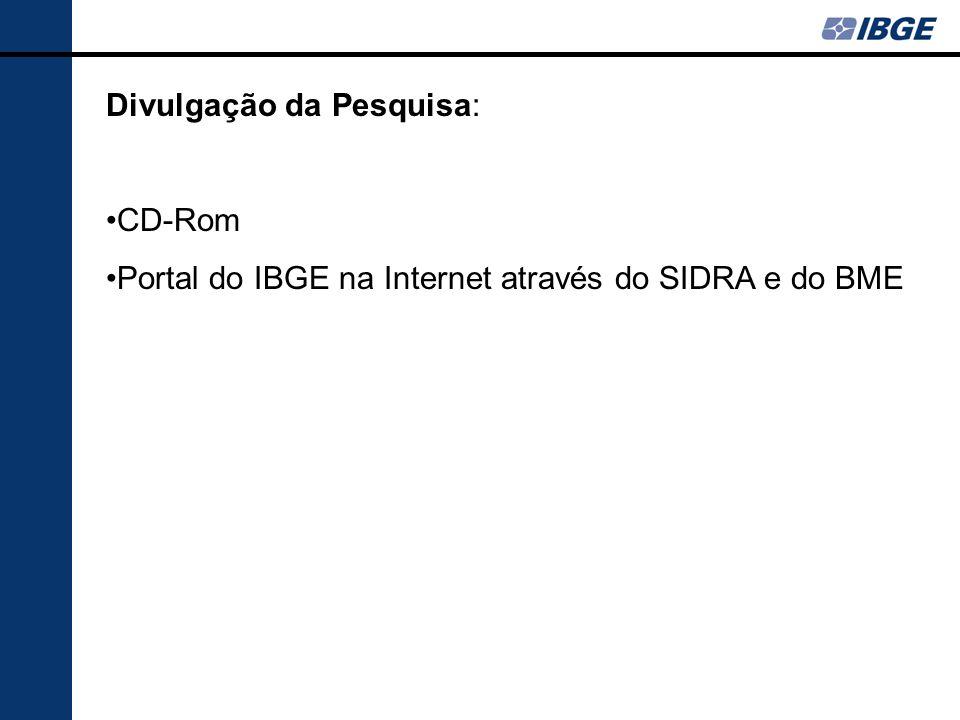 Divulgação da Pesquisa: CD-Rom Portal do IBGE na Internet através do SIDRA e do BME