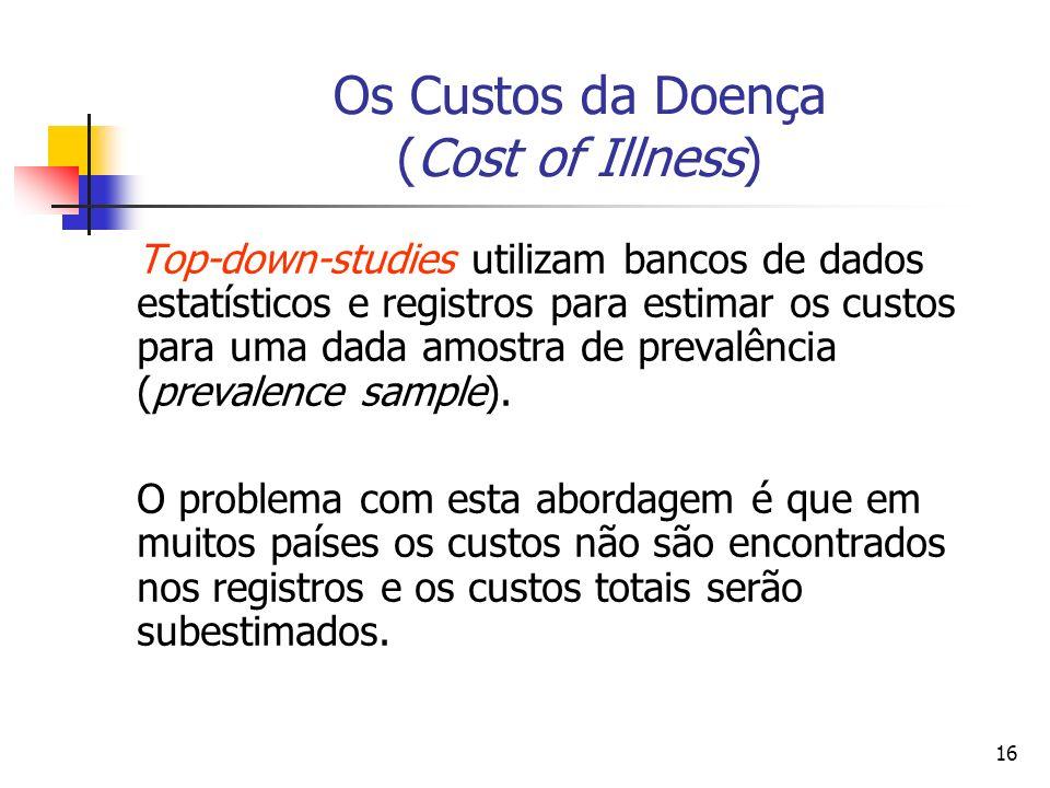 16 Os Custos da Doença (Cost of Illness) Top-down-studies utilizam bancos de dados estatísticos e registros para estimar os custos para uma dada amostra de prevalência (prevalence sample).