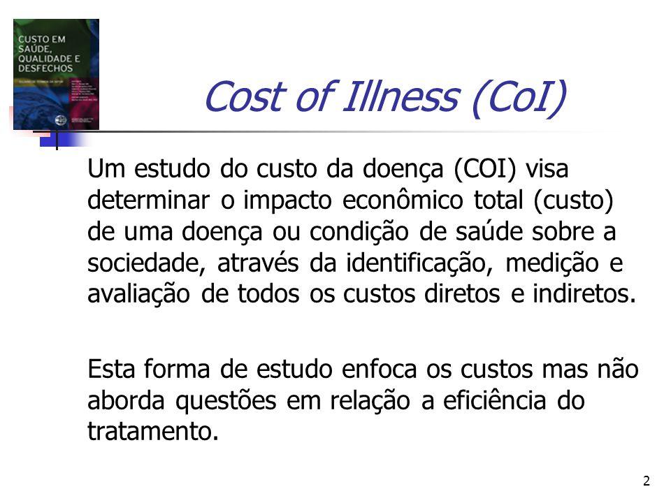 2 Cost of Illness (CoI) Um estudo do custo da doença (COI) visa determinar o impacto econômico total (custo) de uma doença ou condição de saúde sobre a sociedade, através da identificação, medição e avaliação de todos os custos diretos e indiretos.