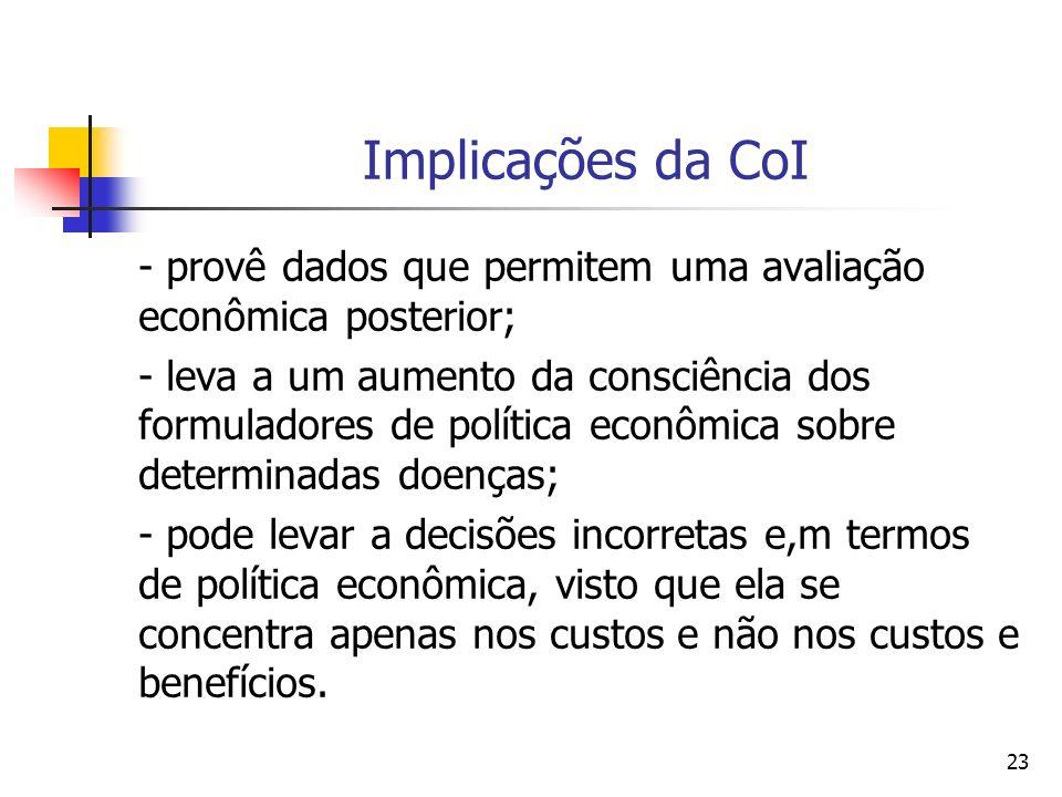 23 Implicações da CoI - provê dados que permitem uma avaliação econômica posterior; - leva a um aumento da consciência dos formuladores de política ec