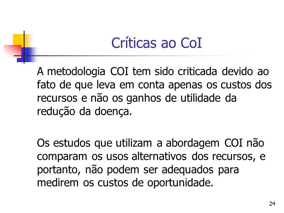 24 Críticas ao CoI A metodologia COI tem sido criticada devido ao fato de que leva em conta apenas os custos dos recursos e não os ganhos de utilidade da redução da doença.