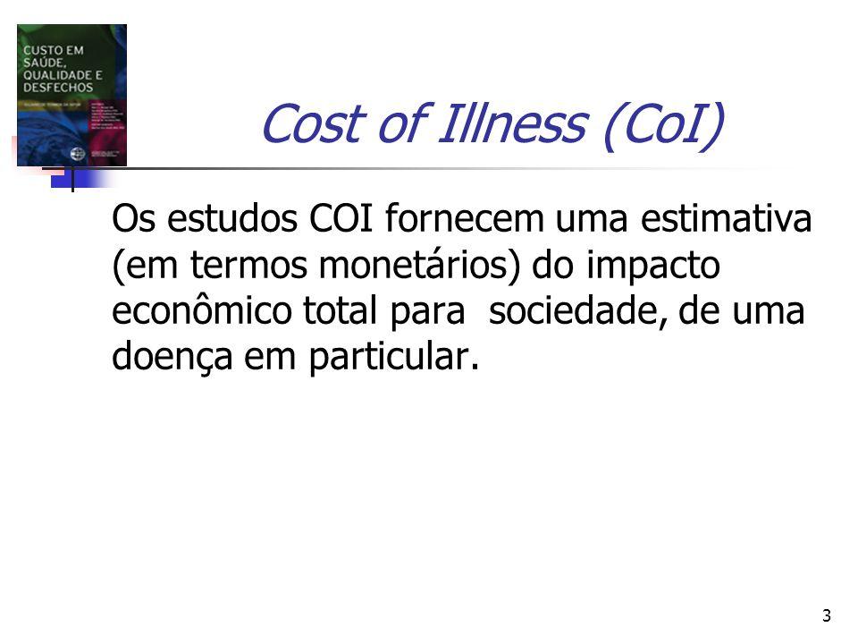 3 Cost of Illness (CoI) Os estudos COI fornecem uma estimativa (em termos monetários) do impacto econômico total para sociedade, de uma doença em particular.