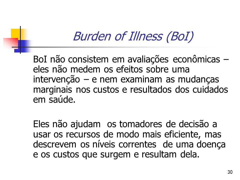 30 Burden of Illness (BoI) BoI não consistem em avaliações econômicas – eles não medem os efeitos sobre uma intervenção – e nem examinam as mudanças marginais nos custos e resultados dos cuidados em saúde.