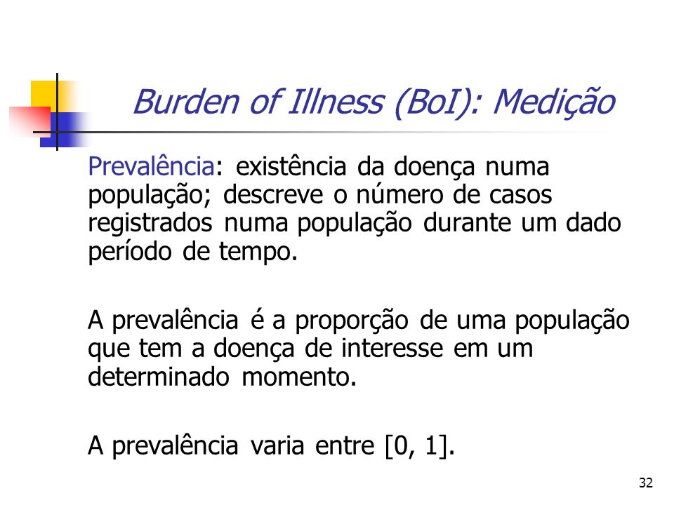 32 Burden of Illness (BoI): Medição Prevalência: existência da doença numa população; descreve o número de casos registrados numa população durante um dado período de tempo.