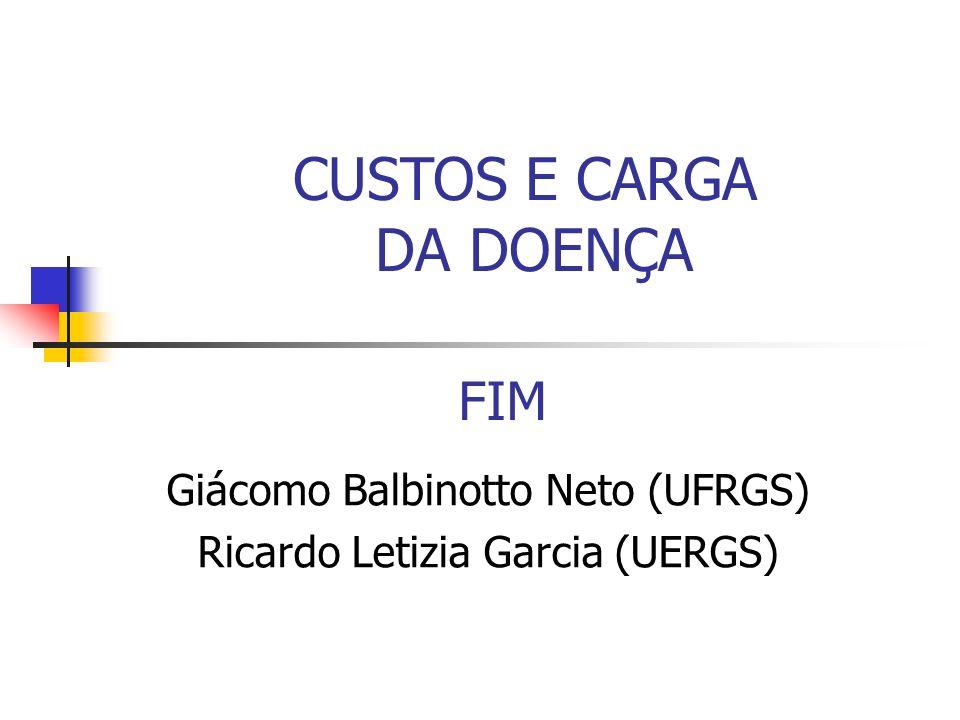 FIM Giácomo Balbinotto Neto (UFRGS) Ricardo Letizia Garcia (UERGS) CUSTOS E CARGA DA DOENÇA