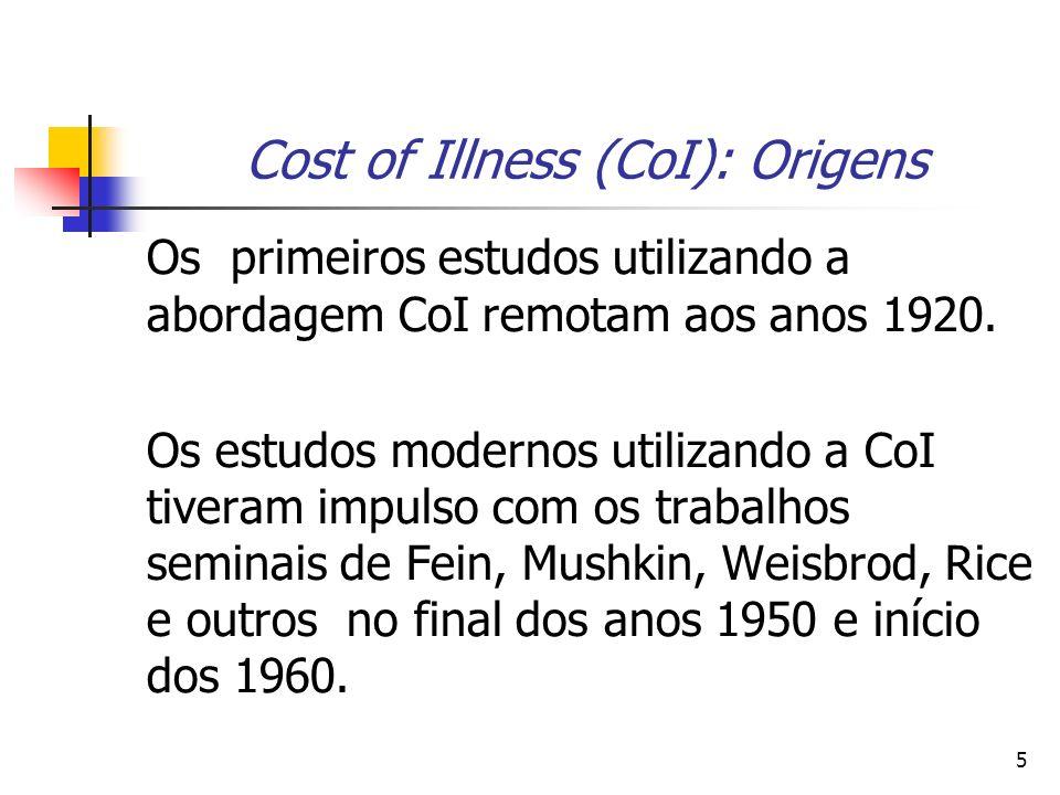 5 Cost of Illness (CoI): Origens Os primeiros estudos utilizando a abordagem CoI remotam aos anos 1920. Os estudos modernos utilizando a CoI tiveram i