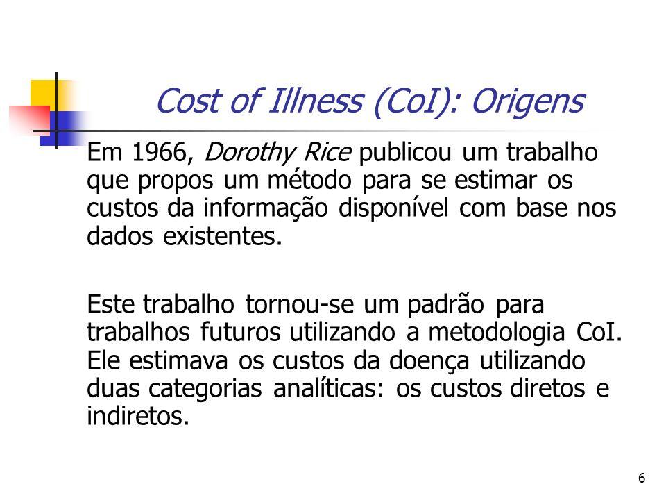 6 Cost of Illness (CoI): Origens Em 1966, Dorothy Rice publicou um trabalho que propos um método para se estimar os custos da informação disponível com base nos dados existentes.