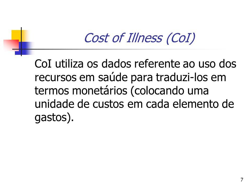 7 Cost of Illness (CoI) CoI utiliza os dados referente ao uso dos recursos em saúde para traduzi-los em termos monetários (colocando uma unidade de custos em cada elemento de gastos).