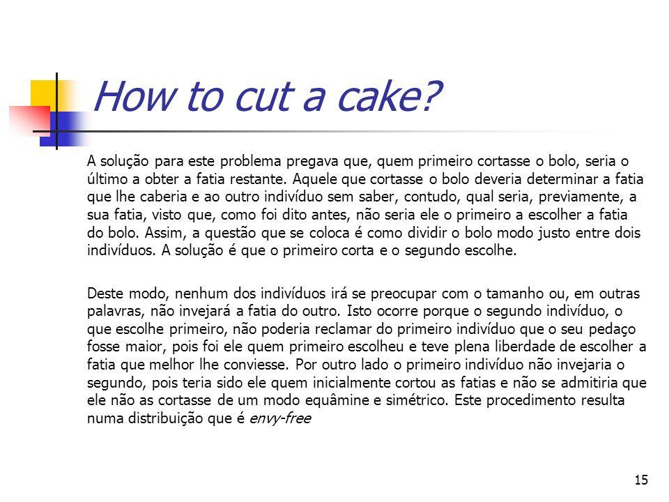 16 N agentes desejam dividir um bolo. Porção justa: th do bolo.