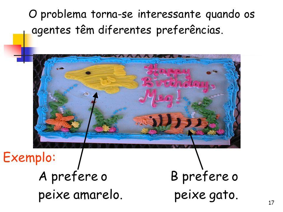 18 Cortar Pedaço de APedaço de B Alegre A prefere o peixe amarelo. B prefere o peixe gato.