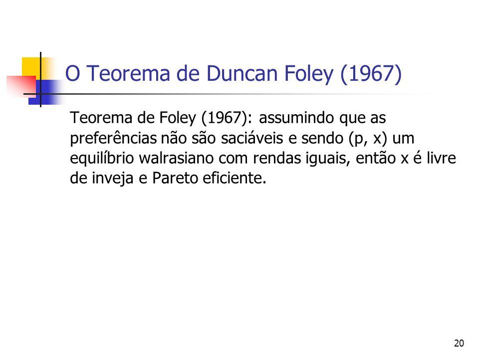 21 O Teorema de Duncan Foley (1967) Prova: Suponha que a alocação não seja livre de inveja, de modo que algum agente i inveje algum agente j.