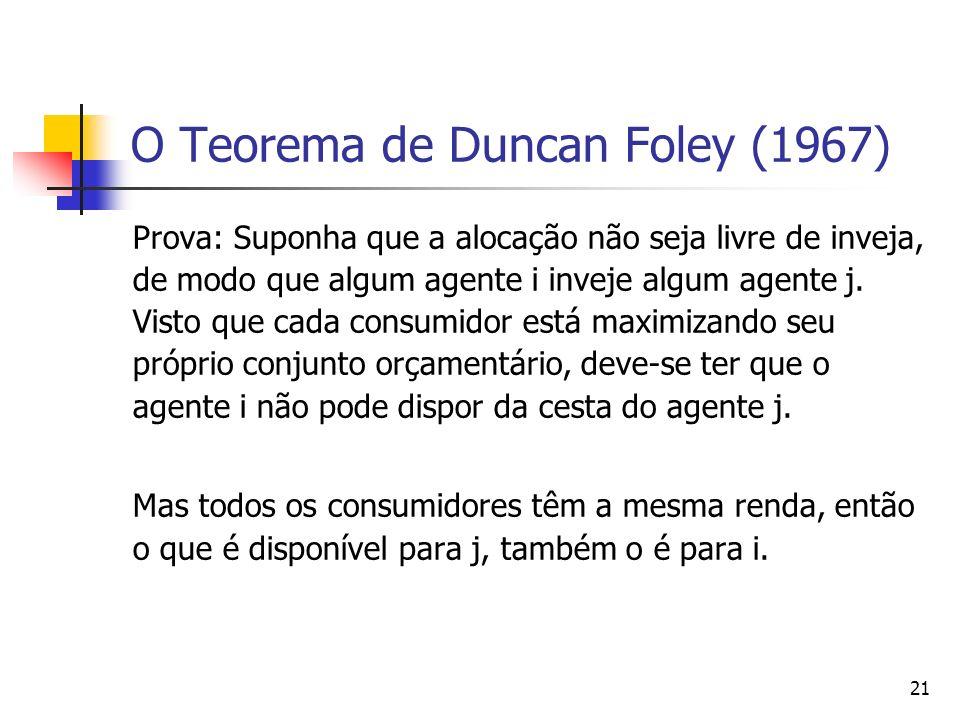 22 A importância do teorema de Duncan Foley (1967) Este teorema é importante, segundo Thomson e Varian (1985, p.108), porque mostra que os pressupostos que garantem existência da eficiência econômica em termos walrasianos também garante a existência de alocações livres de inveja.