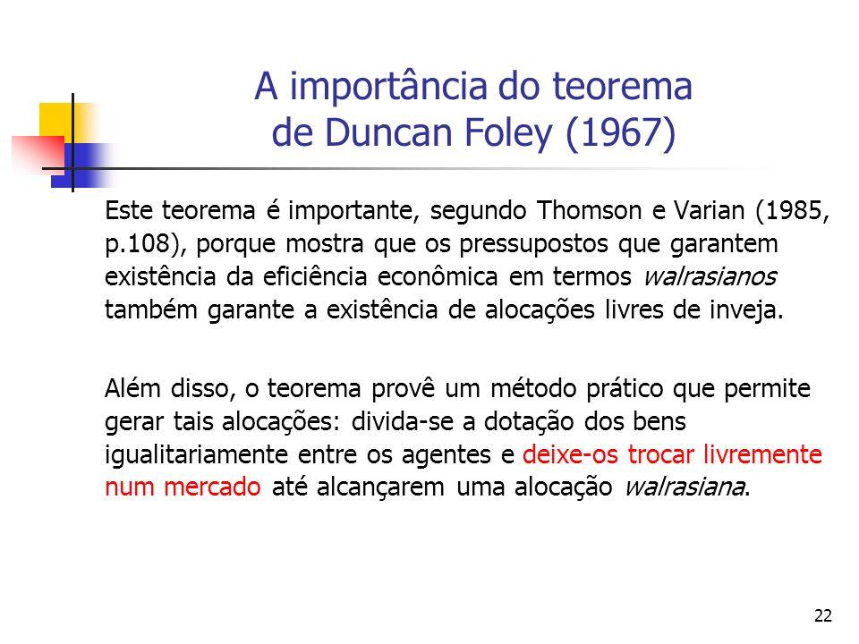 23 A importância do teorema de Duncan Foley (1967) A importância do Teorema de Foley (1967) é que ele mostra que os pressupostos que garantem a existência e a eficiência de uma alocação Pareto-ótima também iriam garantir a existência de uma alocação livre de inveja.