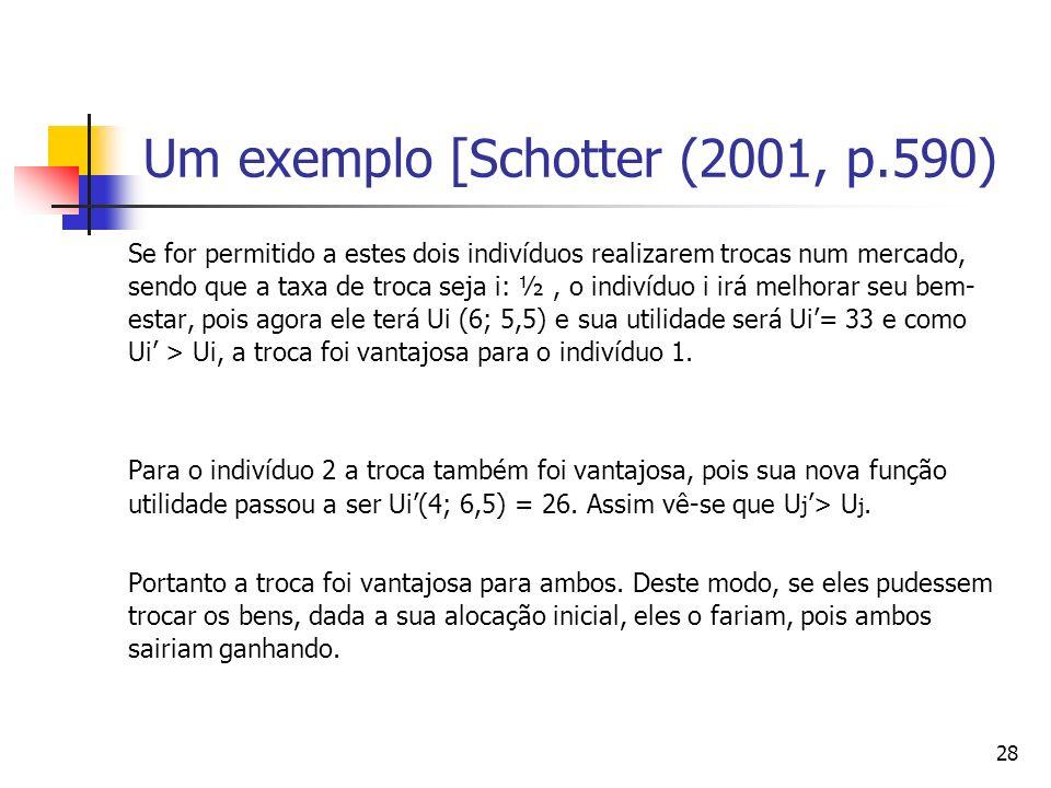 29 Um exemplo [Schotter (2001, p.590) Para comprovar-se se a alocação resultante é também livre de inveja, deve-se substituir a alocação resultante na função utilidade do outro indivíduo e verificar se ela é superior à que ele possui depois da troca.