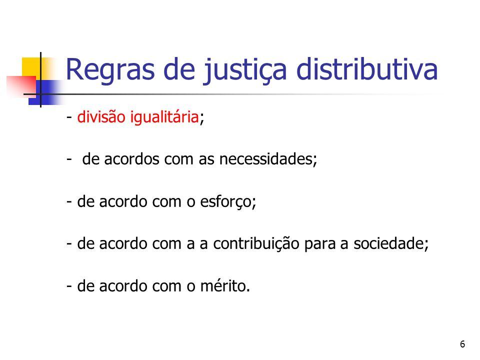 7 Justiça e Inveja Na moderna literatura econômica sobre justiça distributiva, tem-se que a justiça pode ser interpretada como correspondendo a uma situação de ausência de inveja entre as partes envolvidas na distribuição de uma dada cesta de bens.