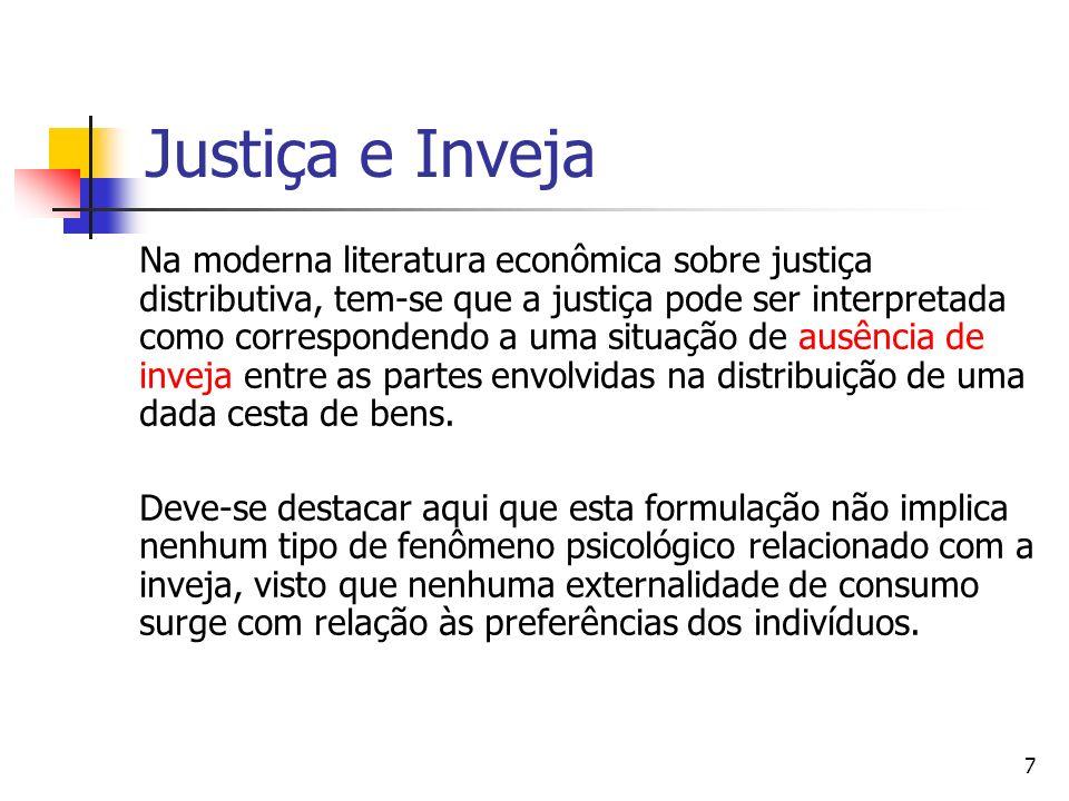 8 Definição econômica de inveja A inveja em termos econômicos é definida como sendo a preferência pelo conteúdo da cesta dos outros indivíduos.