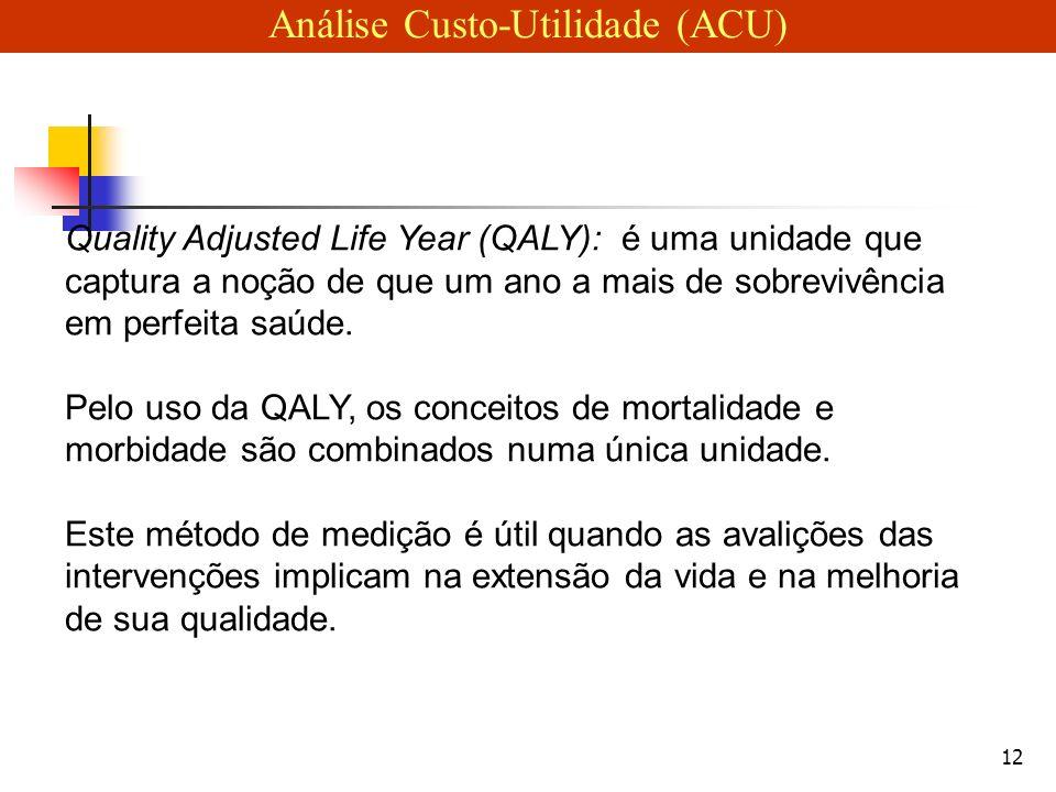 12 Quality Adjusted Life Year (QALY): é uma unidade que captura a noção de que um ano a mais de sobrevivência em perfeita saúde.