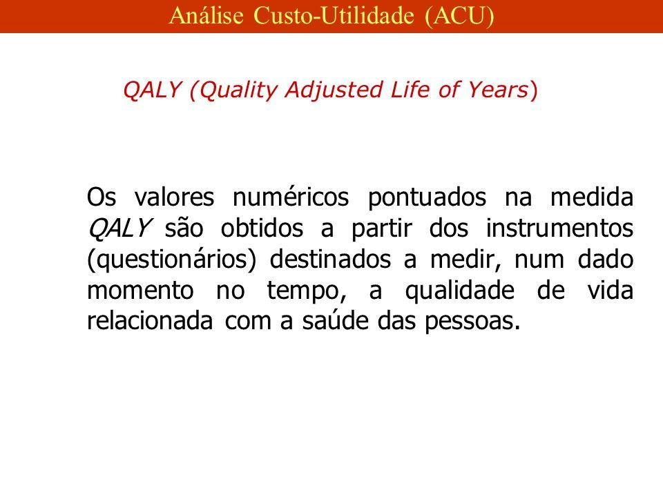 Os valores numéricos pontuados na medida QALY são obtidos a partir dos instrumentos (questionários) destinados a medir, num dado momento no tempo, a qualidade de vida relacionada com a saúde das pessoas.