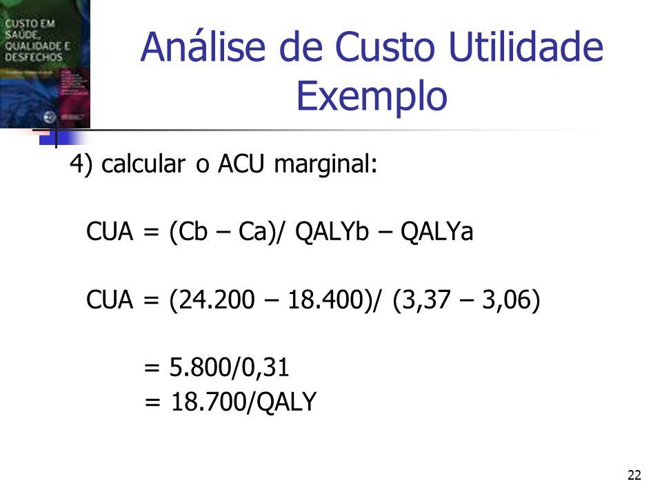 22 Análise de Custo Utilidade Exemplo 4) calcular o ACU marginal: CUA = (Cb – Ca)/ QALYb – QALYa CUA = (24.200 – 18.400)/ (3,37 – 3,06) = 5.800/0,31 = 18.700/QALY