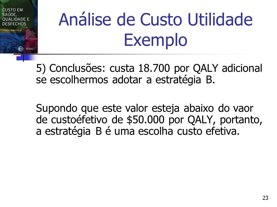 23 Análise de Custo Utilidade Exemplo 5) Conclusões: custa 18.700 por QALY adicional se escolhermos adotar a estratégia B.